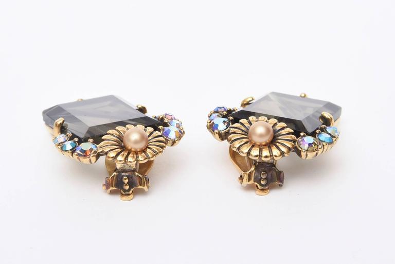 Elsa Schiaparelli Faceted Crystal Clip on Earrings Mid Century Modern For Sale 3