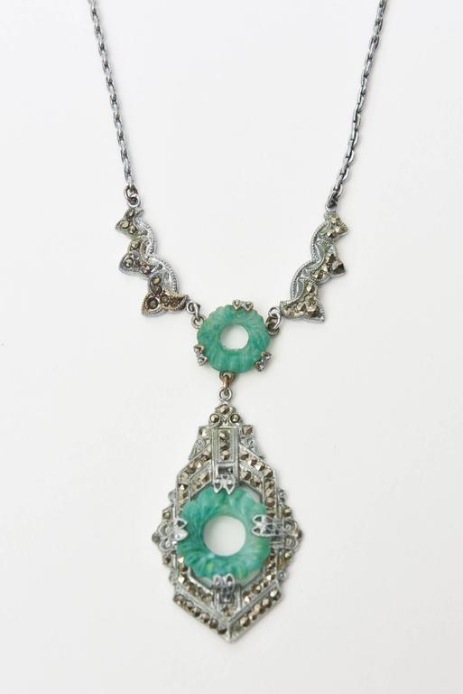 Art Deco Marquisite and Jade Like Stone Necklace                              2