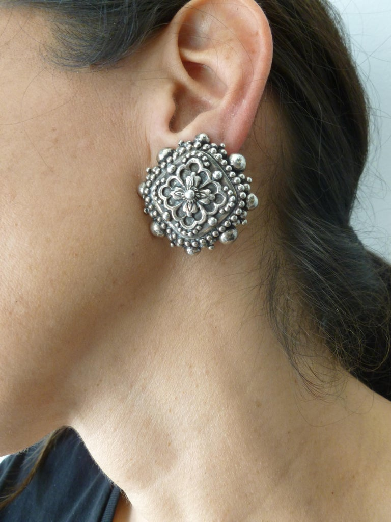 Stephen Dweck Sterling Silver Clip On Earrings Signed Vintage For Sale 8