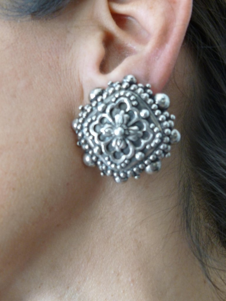 Stephen Dweck Sterling Silver Clip On Earrings Signed Vintage For Sale 9