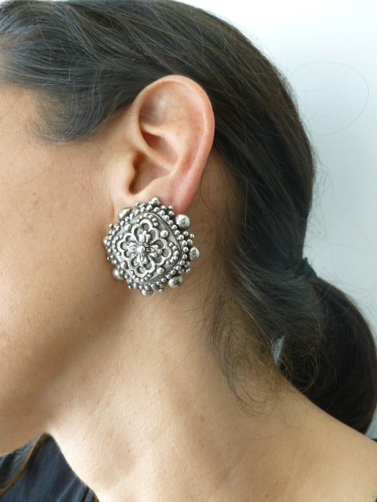 Stephen Dweck Sterling Silver Clip On Earrings Signed Vintage For Sale 7