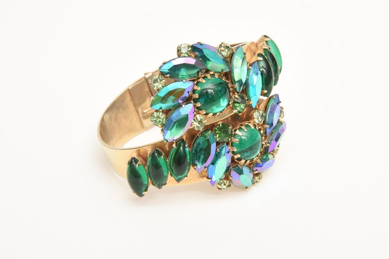 Baguette Cut  Alice Caviness Colored Crystal and Gold Tone Clamp Bracelet Mid Century Modern For Sale