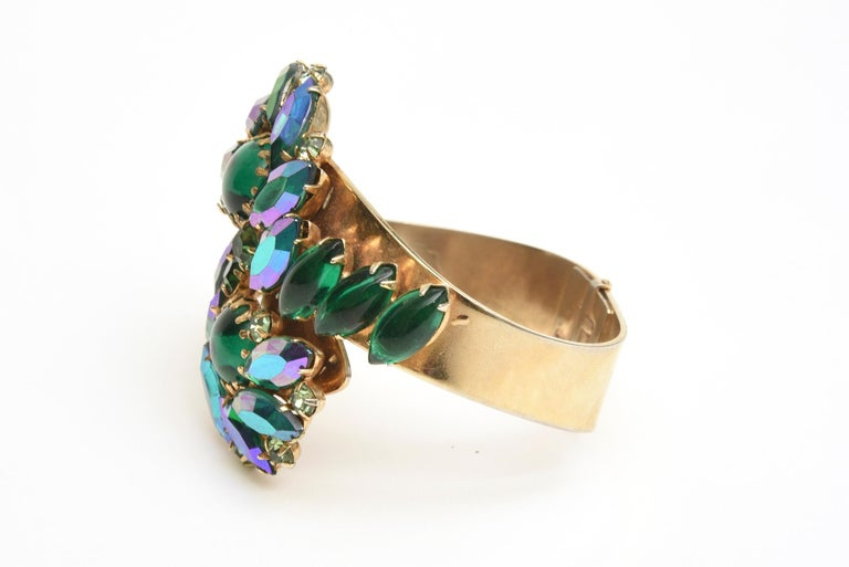 Women's  Alice Caviness Colored Crystal and Gold Tone Clamp Bracelet Mid Century Modern For Sale