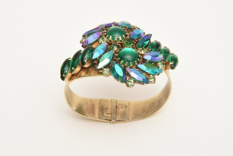 Alice Caviness Colored Crystal and Gold Tone Clamp Bracelet Mid Century Modern For Sale 1