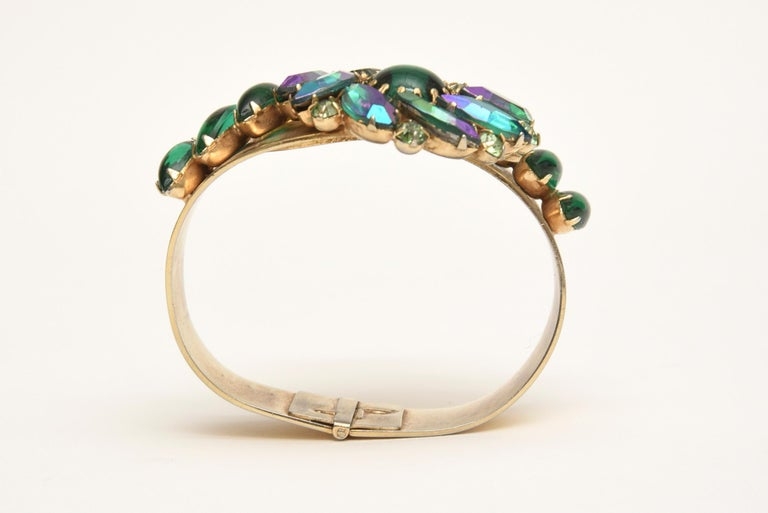 Alice Caviness Colored Crystal and Gold Tone Clamp Bracelet Mid Century Modern For Sale 4