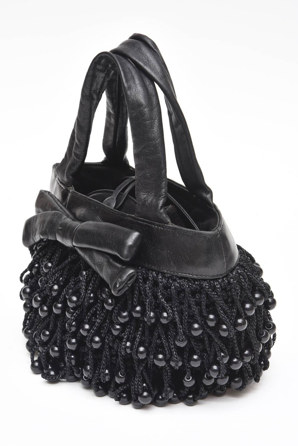 Leather Crochet Bag : Koret Vintage Black Leather, Crochet, Black Beaded Bag at 1stdibs