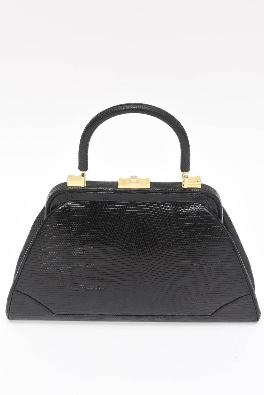 Knock Off Hermes Birkin Elegant Judith Leiber Vintage Black Lizard Kelly Handbag