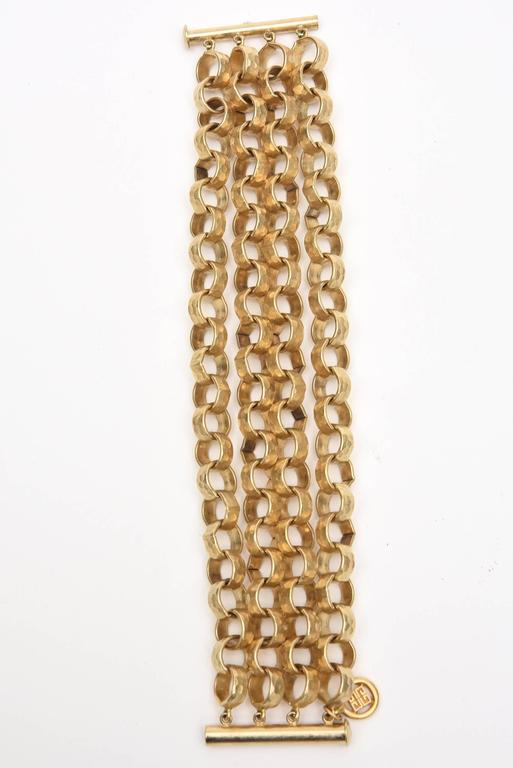 Modern Givenchy Chain Gold Plated Link Cuff Bracelet Vintage For Sale