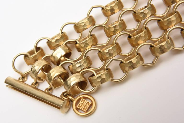 Givenchy Chain Gold Plated Link Cuff Bracelet Vintage In Good Condition For Sale In North Miami, FL