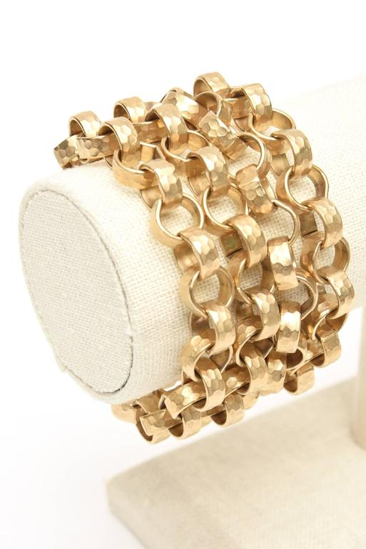 Women's Givenchy Chain Gold Plated Link Cuff Bracelet Vintage For Sale