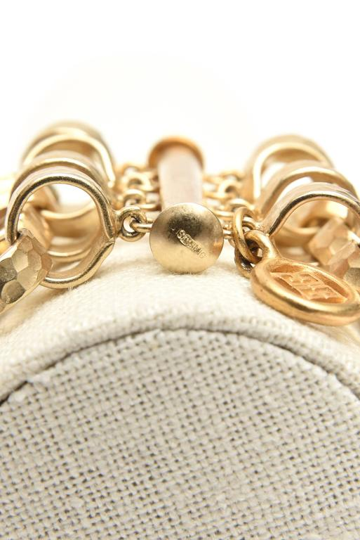 Givenchy Chain Gold Plated Link Cuff Bracelet Vintage For Sale 2