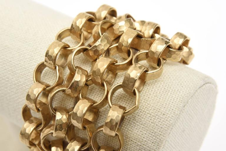Givenchy Chain Gold Plated Link Cuff Bracelet Vintage For Sale 3