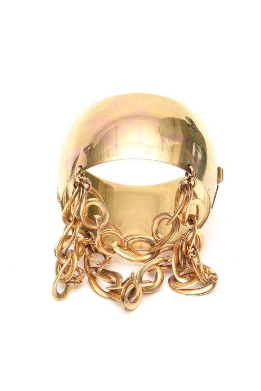 Gold Wash over Sterling Silver Cuff Bracelet with Dangling Link Chain 2