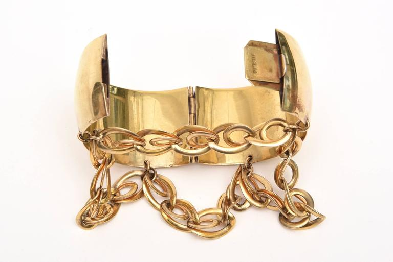 Gold Wash over Sterling Silver Cuff Bracelet with Dangling Link Chain 3