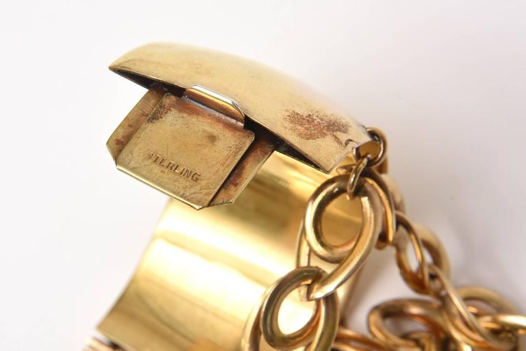 Gold Wash over Sterling Silver Cuff Bracelet with Dangling Link Chain 4