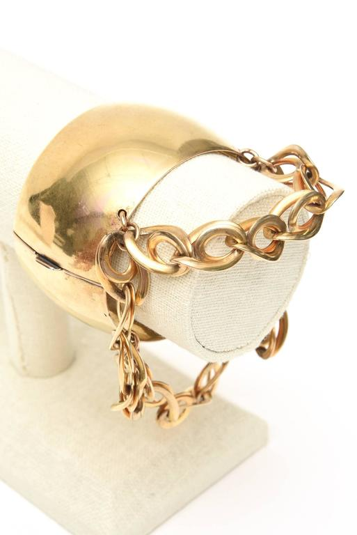 Gold Wash over Sterling Silver Cuff Bracelet with Dangling Link Chain 6