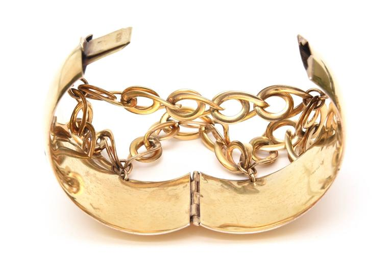 Gold Wash over Sterling Silver Cuff Bracelet with Dangling Link Chain 8