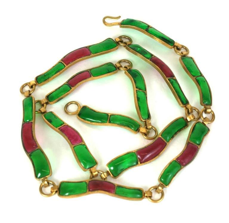 CoCo Chanel Pate De Verre Poured  Byzantine Glass Belt, Workshop Maison Gripoix 3
