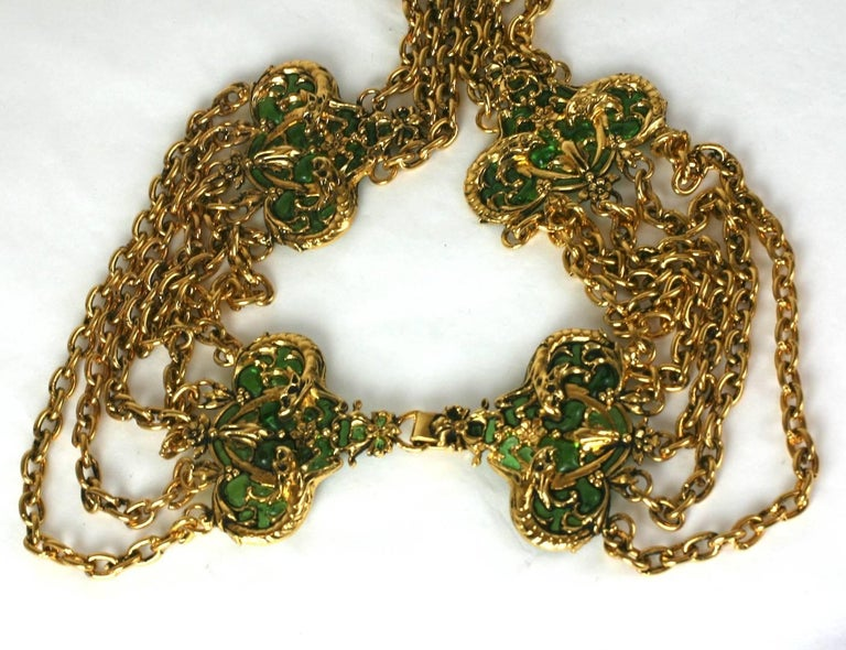 Coco Chanel Early Poured Glass Sea Serpent Belt In Excellent Condition For Sale In Riverdale, NY