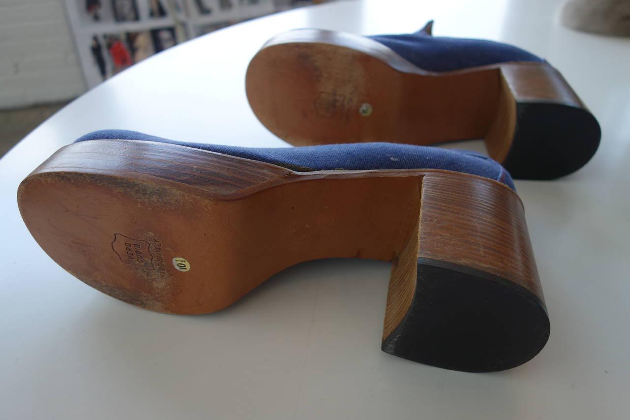 1970's mens Fantasia denim and stacked heel platform shoe.