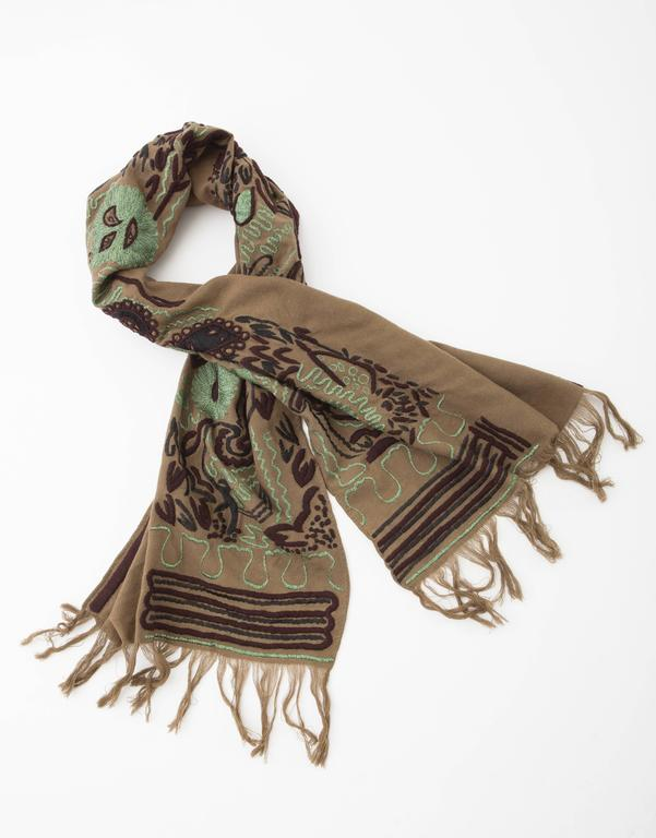 Brown Dries Van Noten Runway Wool Embroidered Shawl, Fall 2002 For Sale