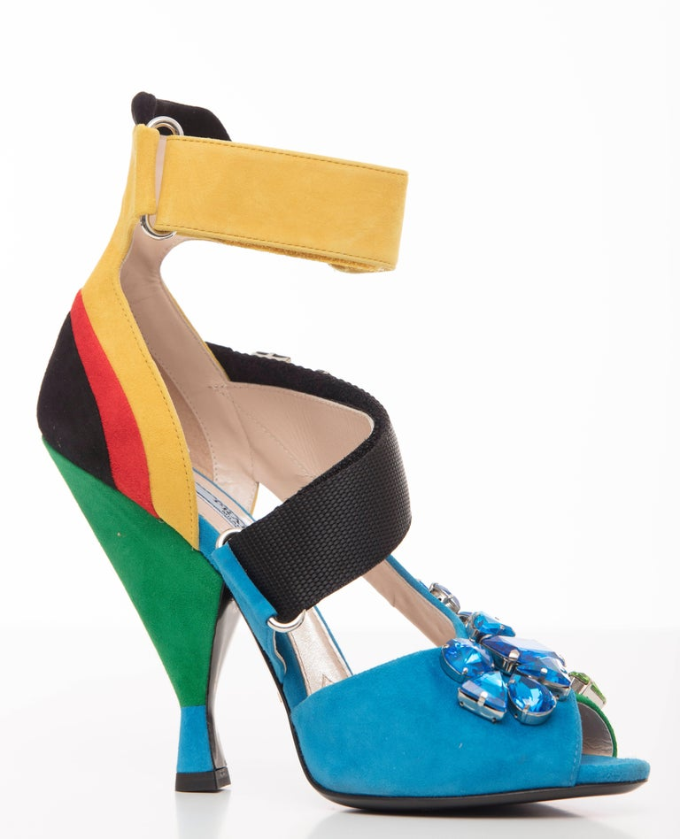 Blue Prada Suede Sandals With Jewel Embellishments, Spring 2014 For Sale