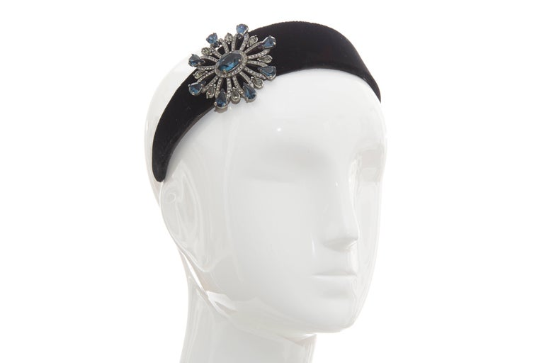 Alber Elbaz for Lanvin Runway, Fall 2005  black velvet crystal embellished headband.