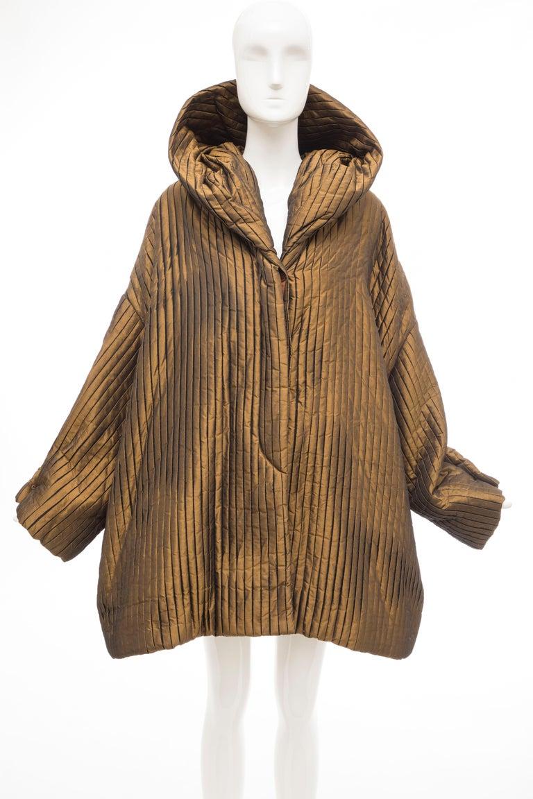 Brown Romeo Gigli Bronze Silk Satin Nylon Hooded Coat, Fall 1989 For Sale