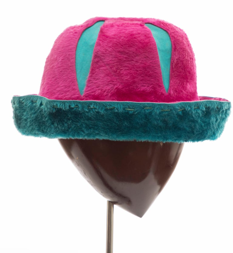 Yves Saint Laurent, Circa: 1960's pink & turquoise faux fur cloche hat.  Circumference: 43