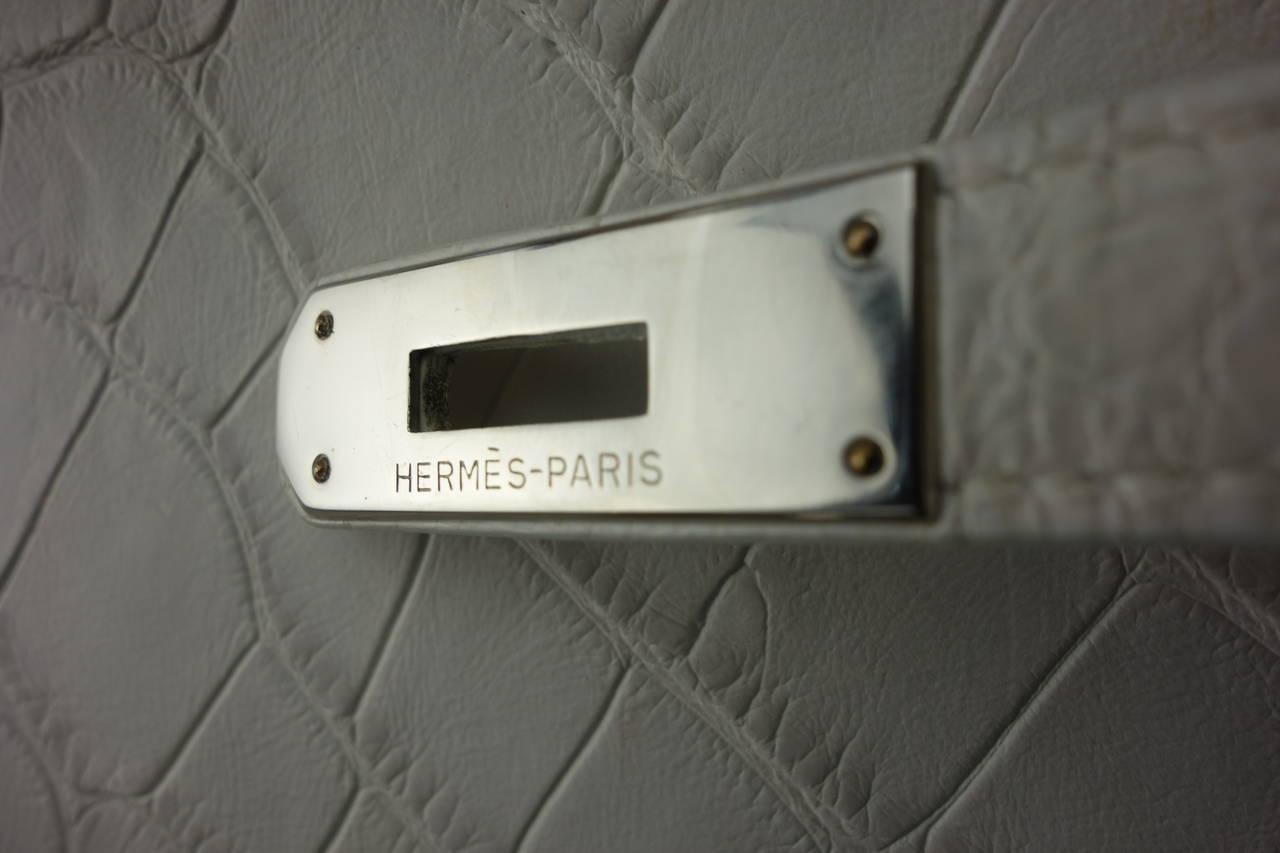 Hermes White Matte Alligator Kelly Handbag at 1stdibs