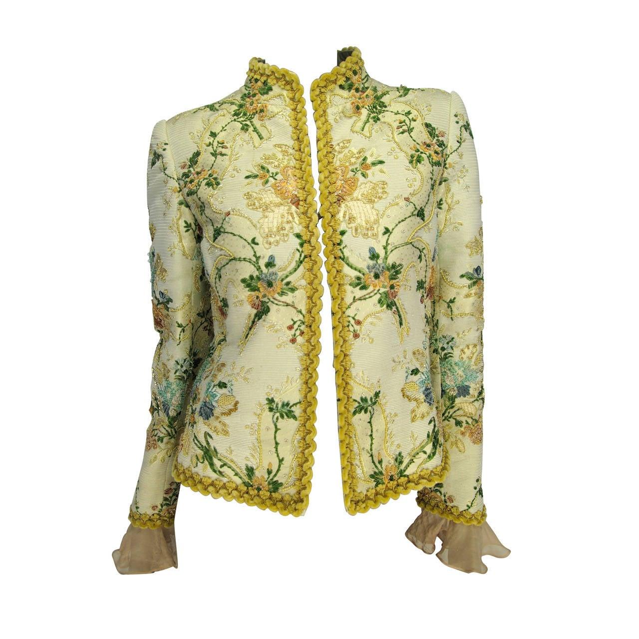 Oscar de la Renta Lesage Embroidered Jacket