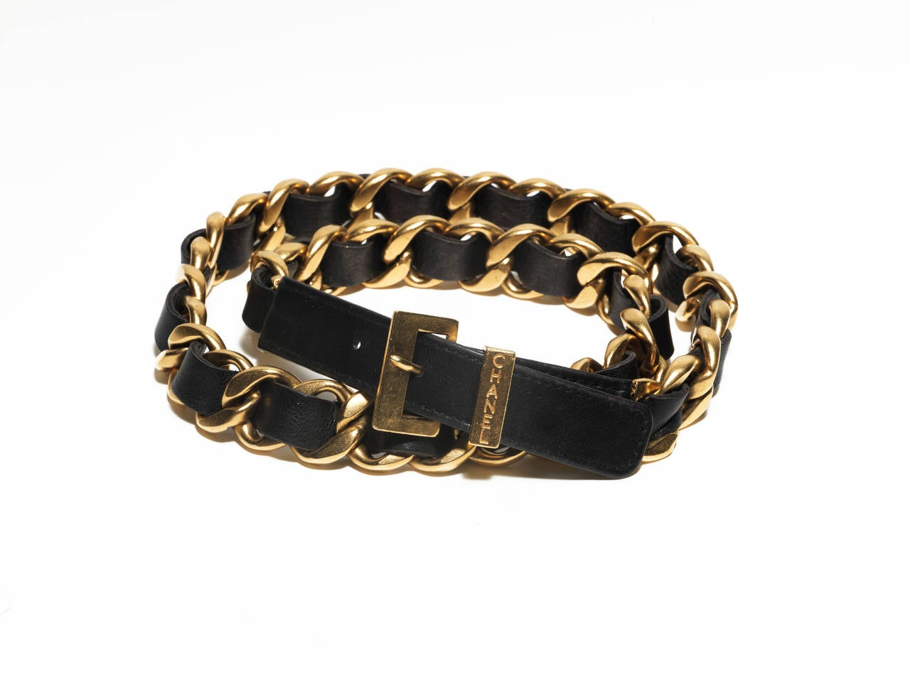 chanel black leather chain belt autumn winter 1993 at
