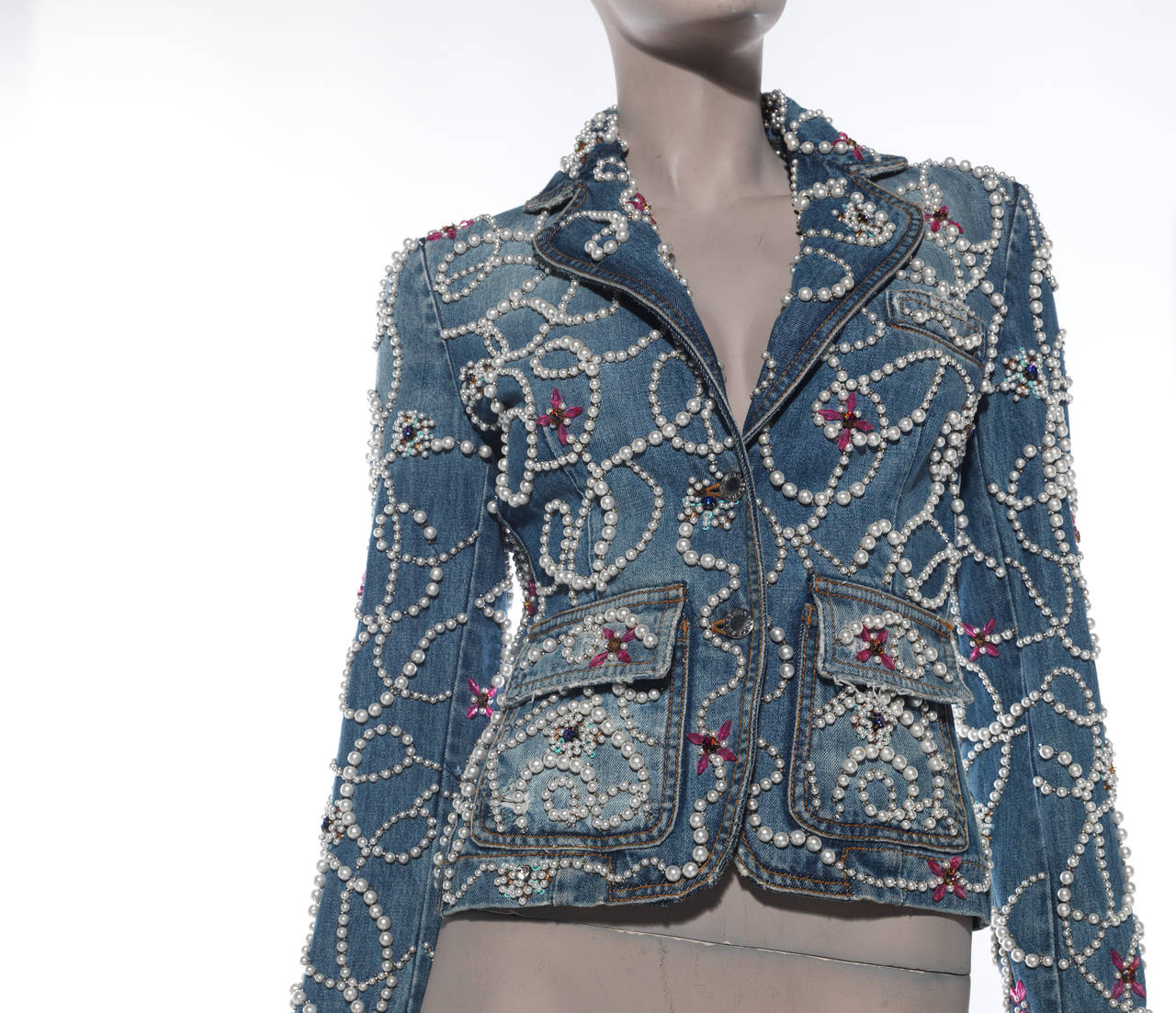 Dolce & Gabbana Pearl Encrusted Denim Jacket 6