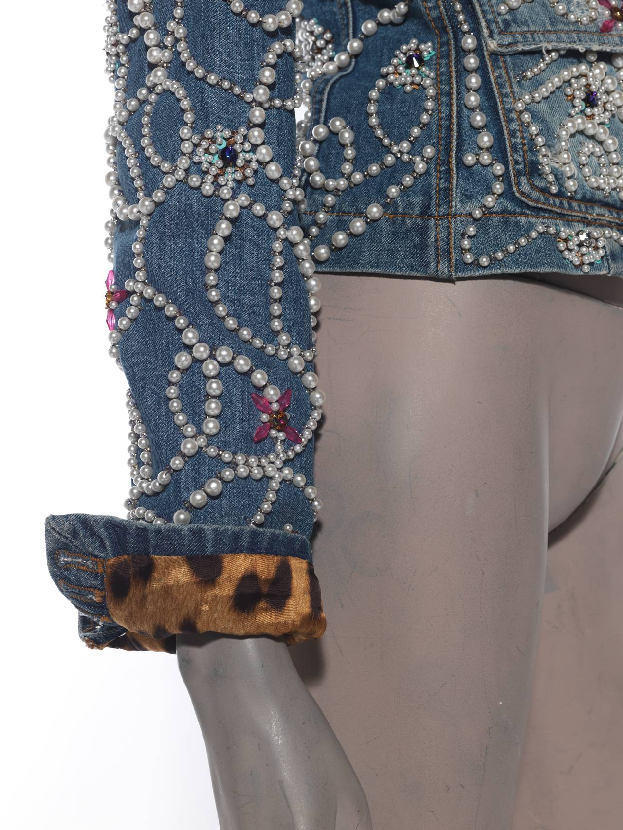 Dolce & Gabbana Pearl Encrusted Denim Jacket 5