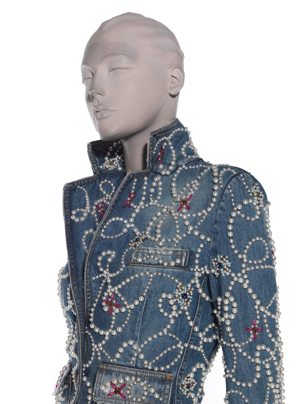Dolce & Gabbana Pearl Encrusted Denim Jacket 4