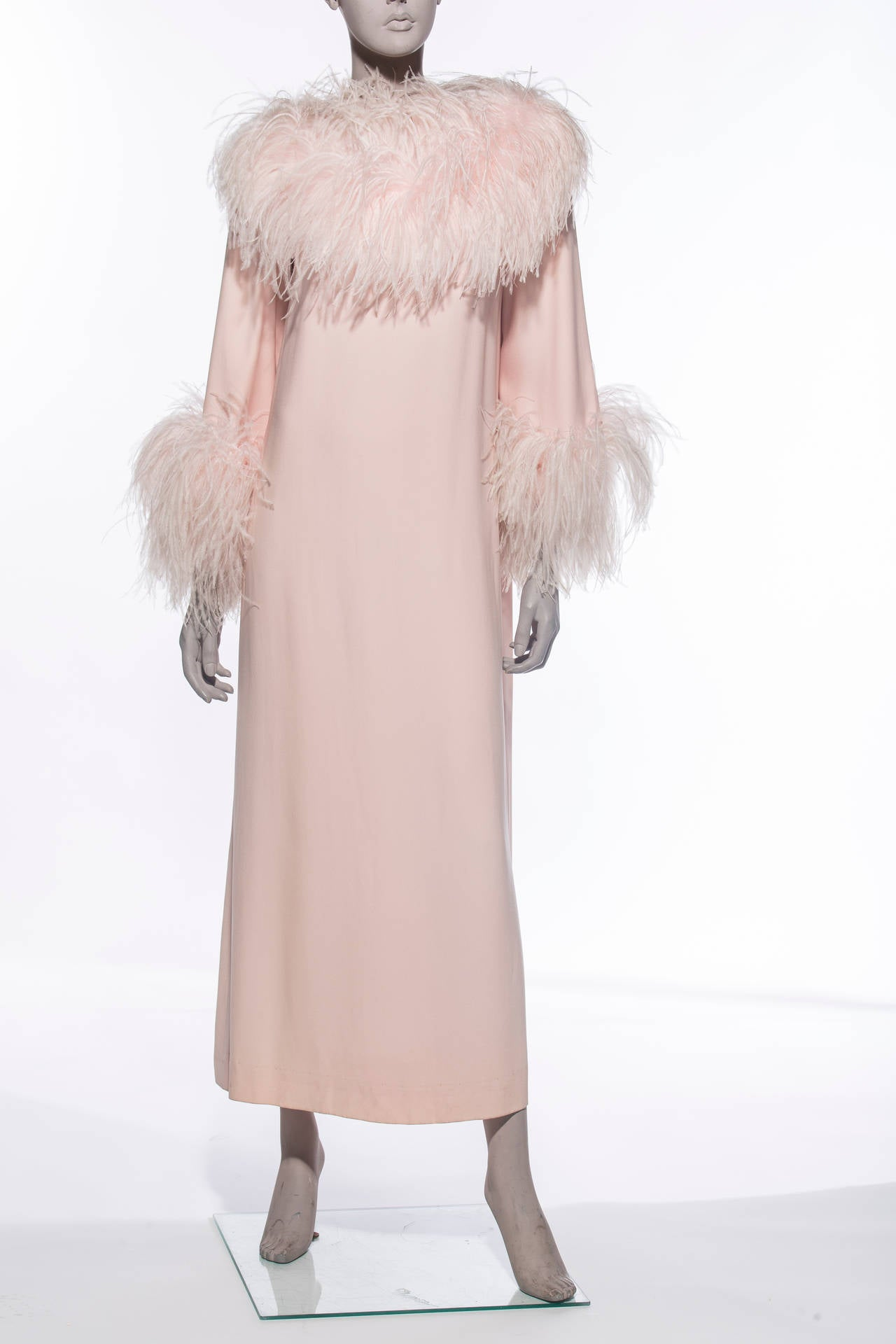 Lucie Ann soft pink peignoir trimmed with marabou, two front pockets, back zip and fully lined.