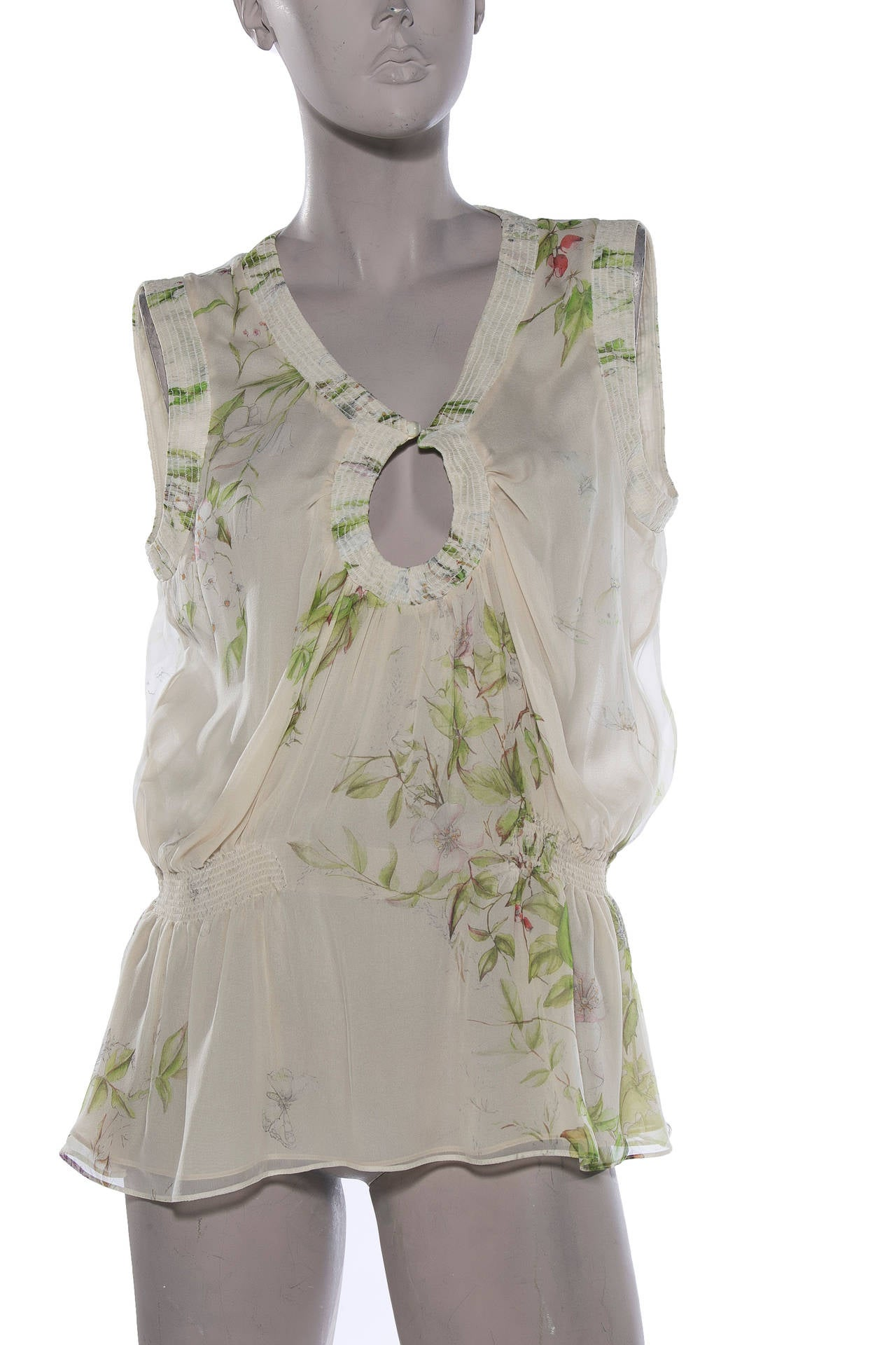 Alexander Mcqueen Spring 2006 cream silk chiffon sleeveless blouse,dogwood trees and butterfly print. Size 44