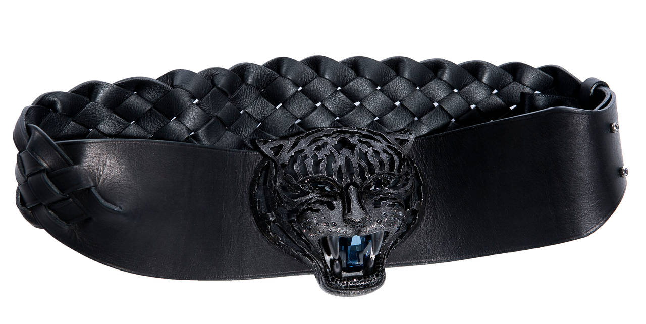 Lanvin Alber Elbaz Black Leather Braided Pandora Belt, Fall 2012 In Excellent Condition For Sale In Cincinnati, OH