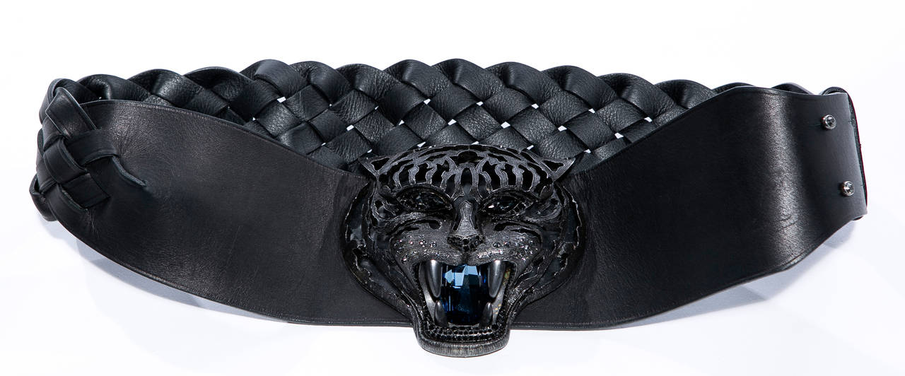 "Alber Elbaz for Lanvin, Fall 2012 Pandora belt, black braided leather with aged silver-tone tiger center piece, faceted Swarovski crystals at hardware, and peg buckle closure.  Retail: $2400   Length 31.5""-33.5"", Width 4"""