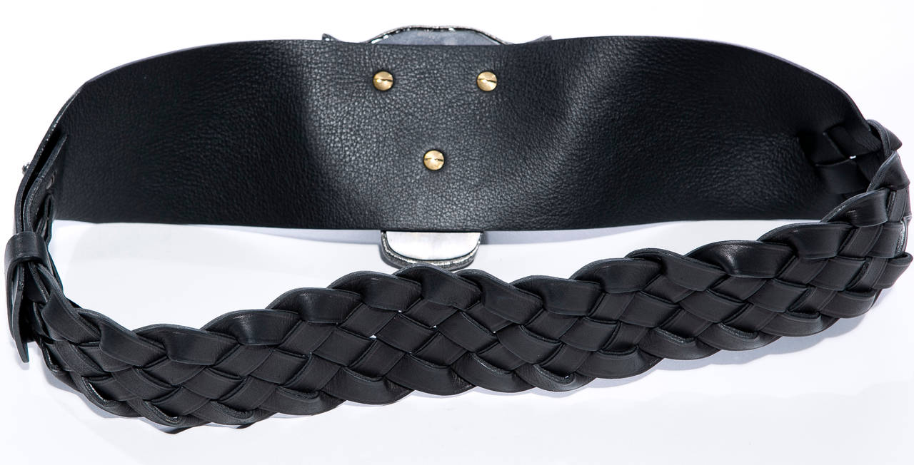 Alber Elbaz for Lanvin Runway Black Leather Braided Pandora Belt, Fall 2012 For Sale 3