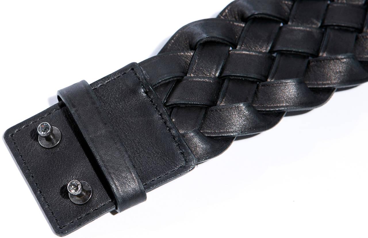 Alber Elbaz for Lanvin Runway Black Leather Braided Pandora Belt, Fall 2012 For Sale 1