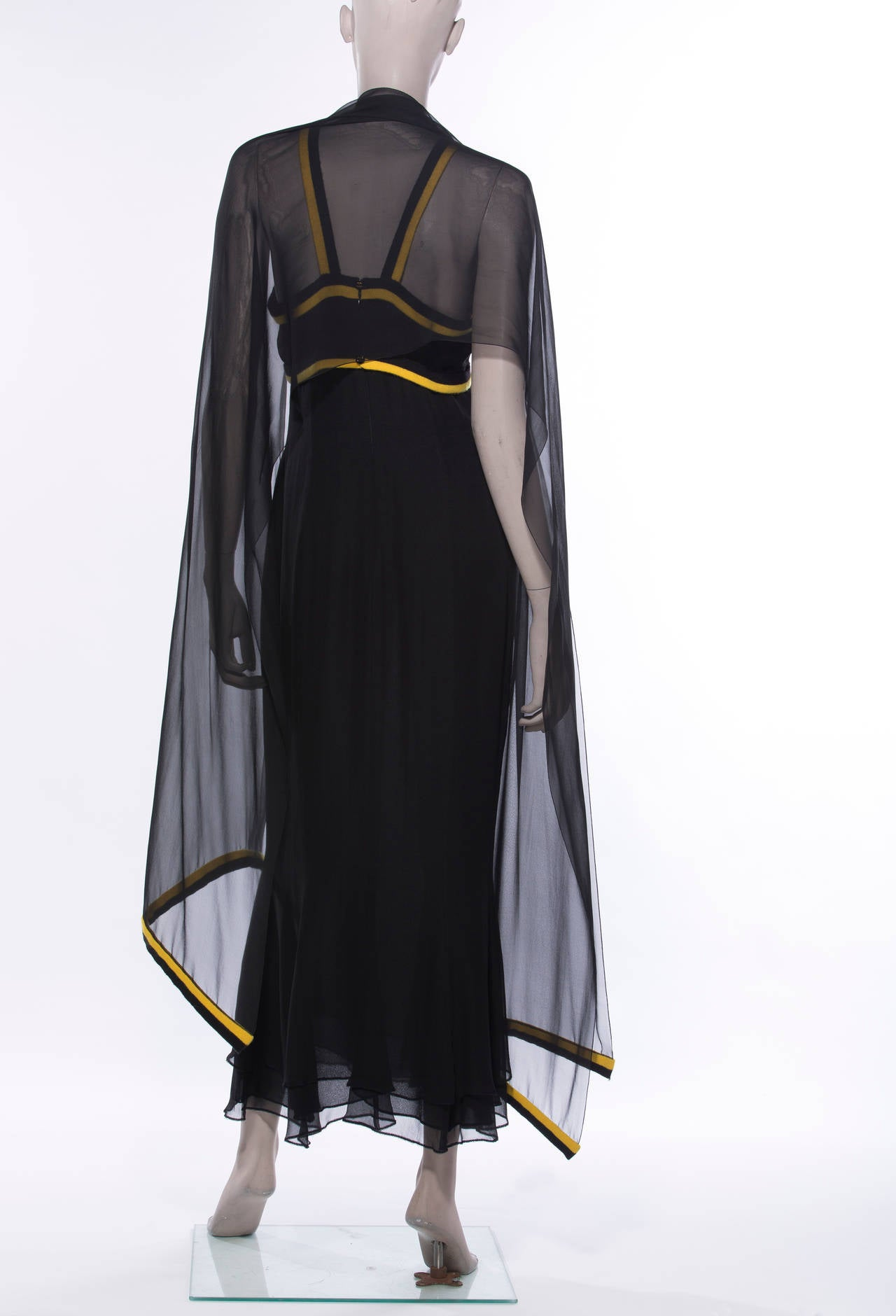 Chanel Black Sleeveless Silk Chiffon Dress With Yellow Cashmere Trim, Fall 1994 For Sale 1