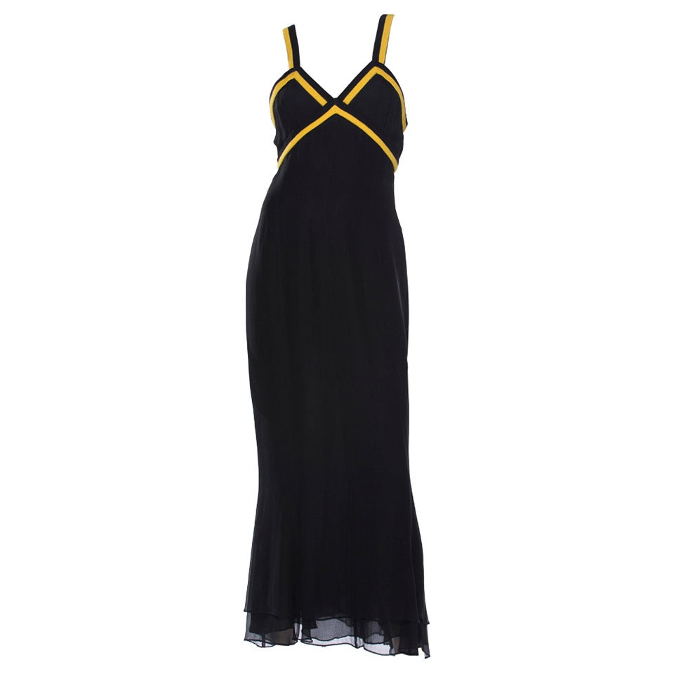 Chanel Black Sleeveless Silk Chiffon Dress With Yellow Cashmere Trim, Fall 1994 For Sale 3