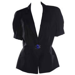 Thierry Mugler Black Linen Short Sleeve Snap Front Jacket, Circa 1980s