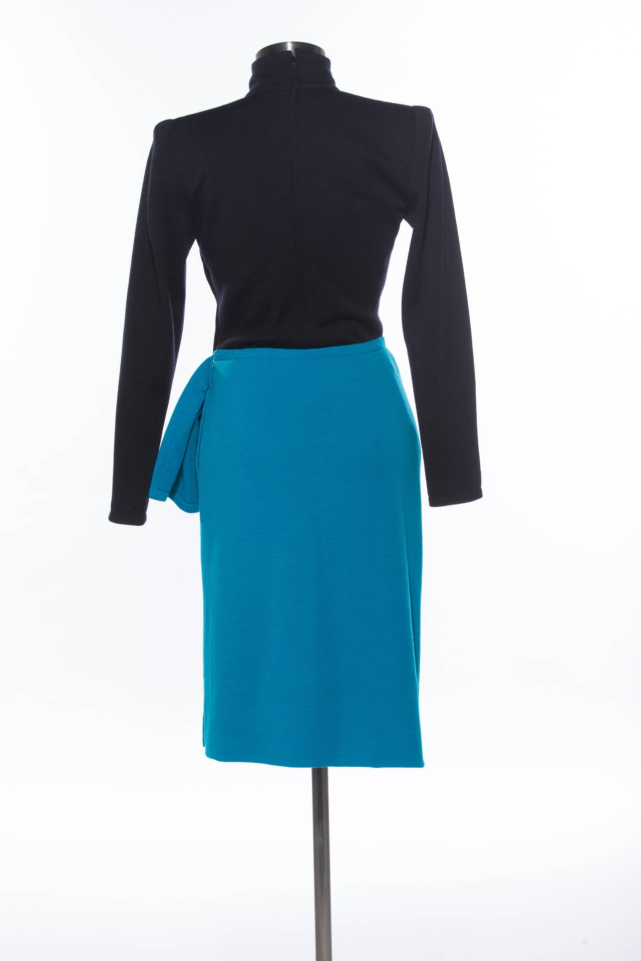 Blue Givenchy By Hubert de Givenchy Wool Jersey Haute Couture Dress, Circa 1980's For Sale
