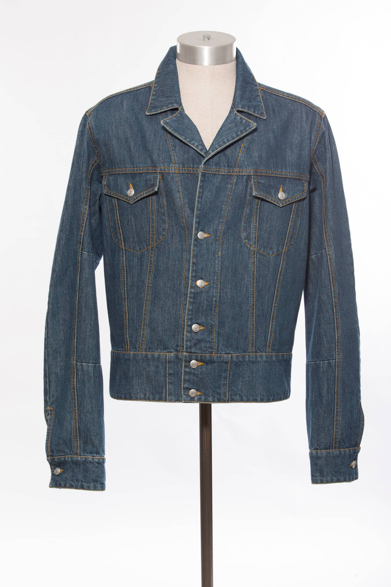 John Galliano Men39s Denim Jacket With Embroidered Back For