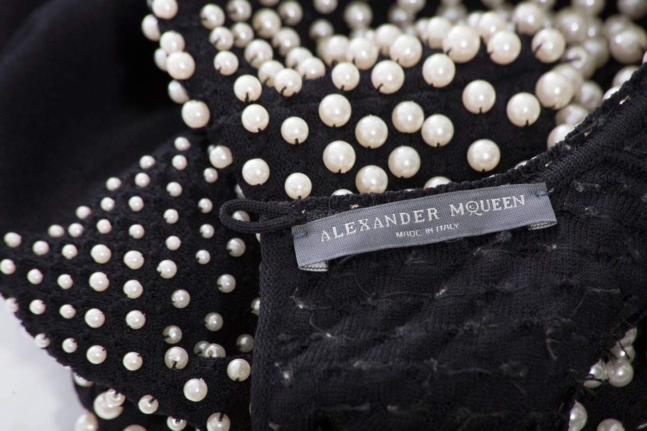 Alexander McQueen Black Knit Dress With Pearl Neckline, Autumn - Winter 2013 For Sale 5