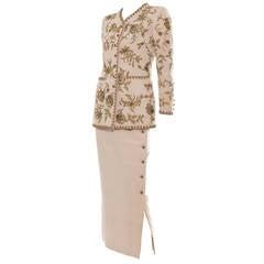 Oscar de la Renta Button Front Lesage Embroidered Skirt Suit, Circa 1990's