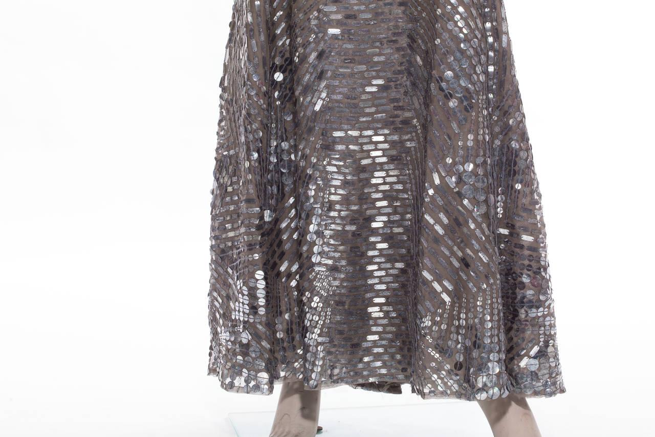 Oscar De la Renta Silk Evening Dress With Pewter Embellishments, Fall 2007 7