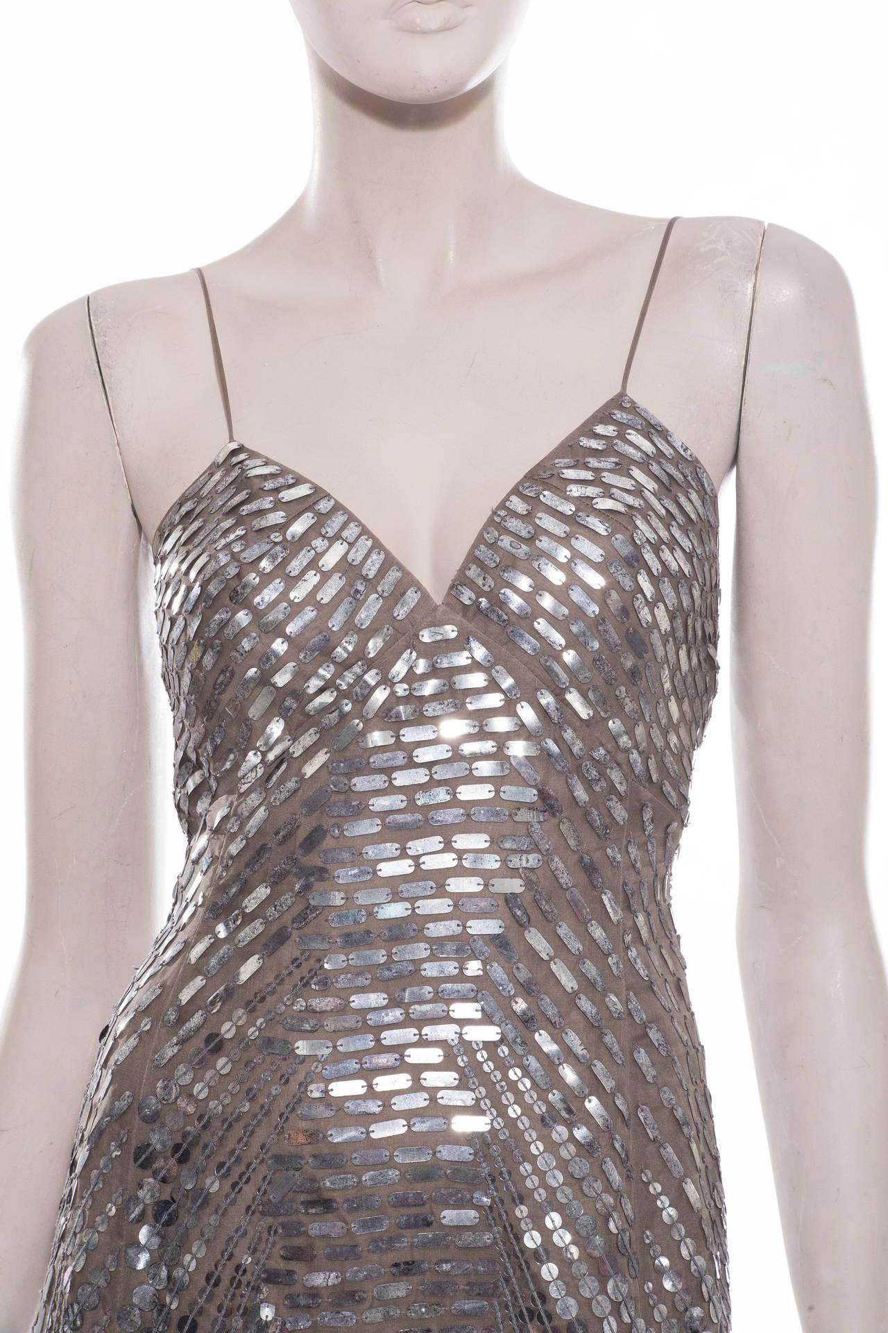 Oscar De la Renta Silk Evening Dress With Pewter Embellishments, Fall 2007 6